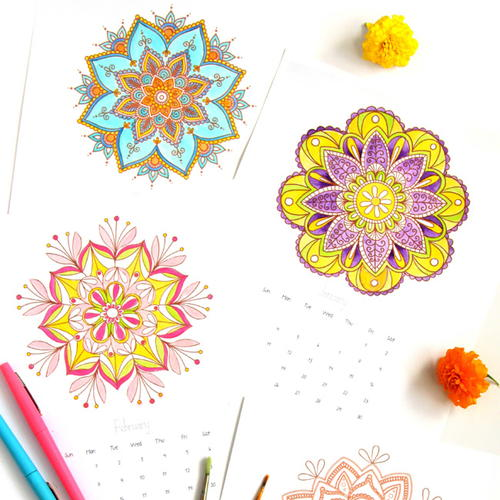 Free Printable Mandala Coloring Pages + 2016 Calendar