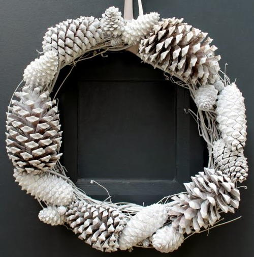 $10 Snowy Pine Cone Wreath
