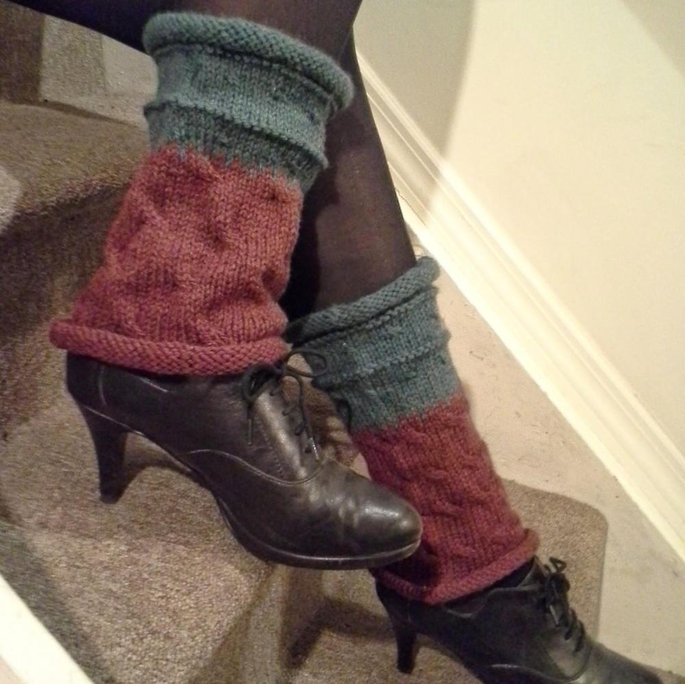Aran Leg Warmers Knitting Pattern : Tree Hugger Knit Leg Warmers AllFreeKnitting.com