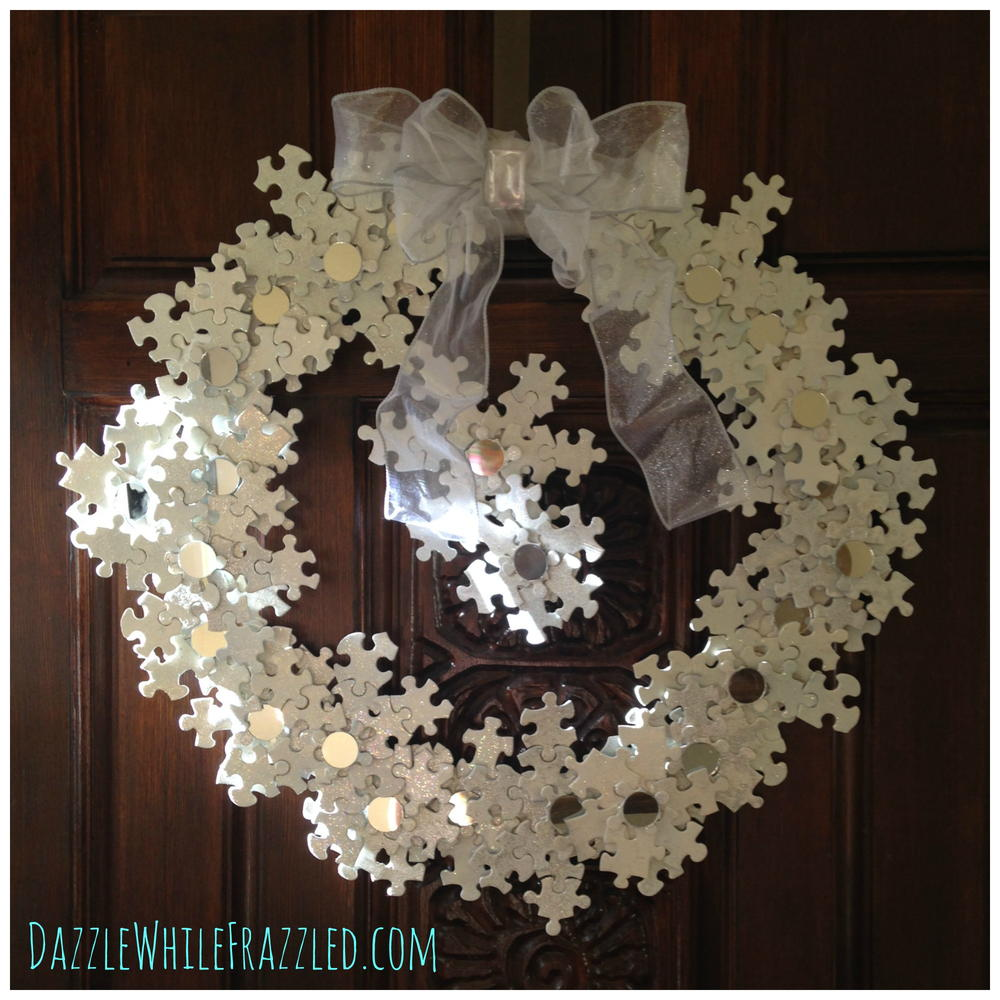 Snowflake Puzzle DIY Wreath FaveCrafts