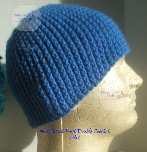 Mens Front Post Double Crochet Beanie