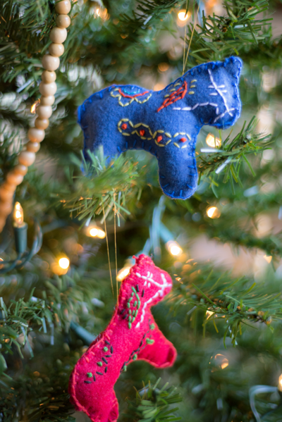 Stitched Dala Horse Ornaments