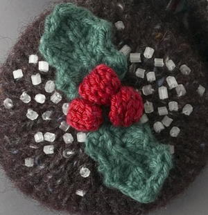Knit Holiday Holly Decoration