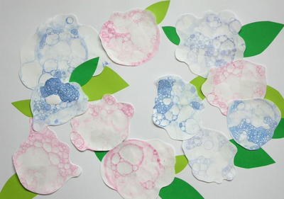 Bubble Painted Hydrangeas