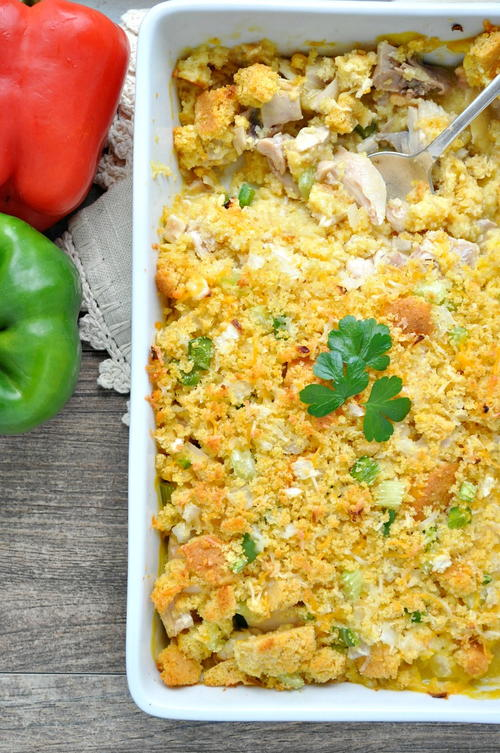 Chicken and Cornbread Cowboy Casserole