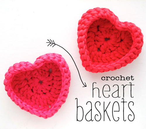 Heart Shaped Crochet Basket