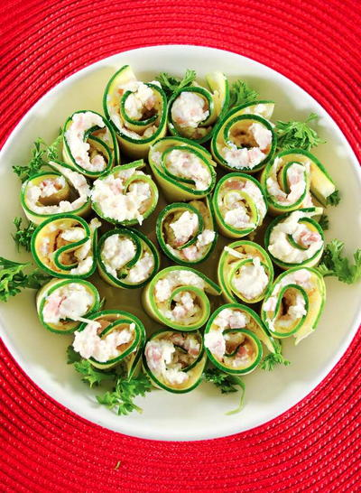 Slender Ham And Zucchini Rollup Appetizer