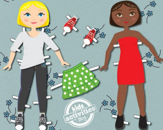 """City Girl"" Paper Doll Template"