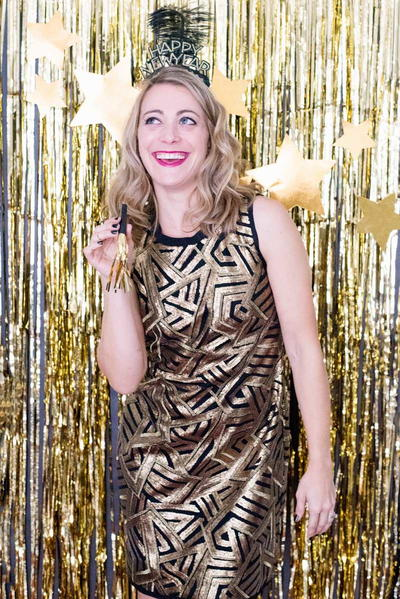 DIY Gold Fringe Photo Booth Backdrop