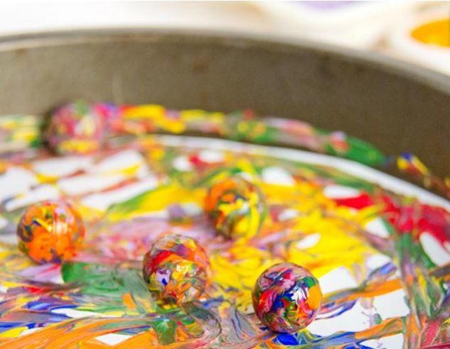 Rainbow Marble Painting AllFreeKidsCrafts