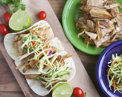 Slow Cooker Carnitas with Cilantro Lime Slaw