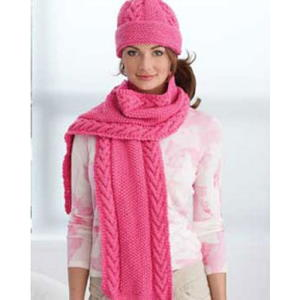 Pink Cabled Hat and Scarf