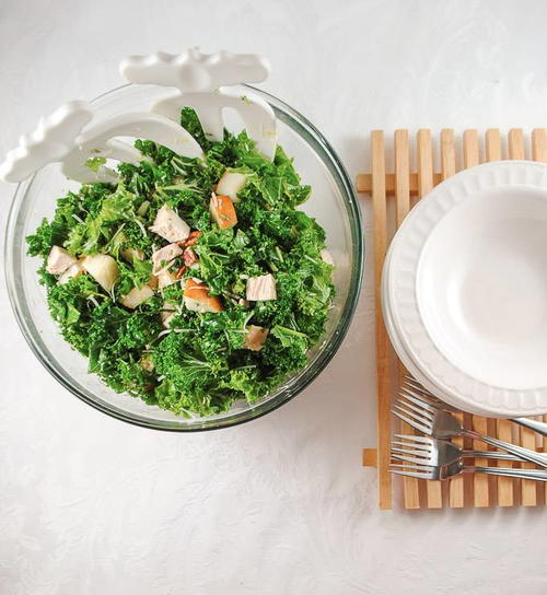 Light and Lemony Kale Salad with Chicken and Pecans