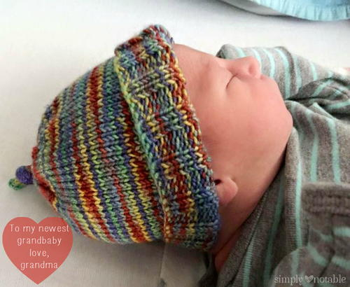 Hand Knitting Patterns For Babies : Super Stretchy Striped Baby Hat AllFreeKnitting.com