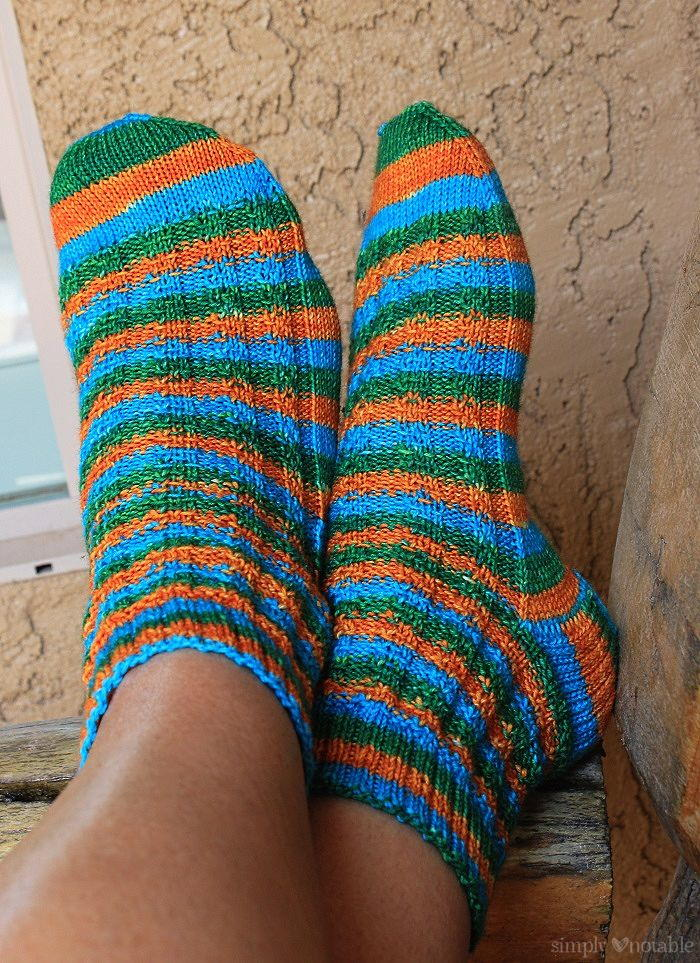 Knitting Pattern Slip On Slippers : Slip Stitch Striped Knit Socks AllFreeKnitting.com