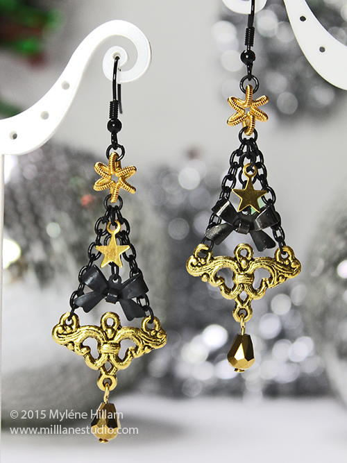 Ornate Black and Gold Christmas Tree Earrings