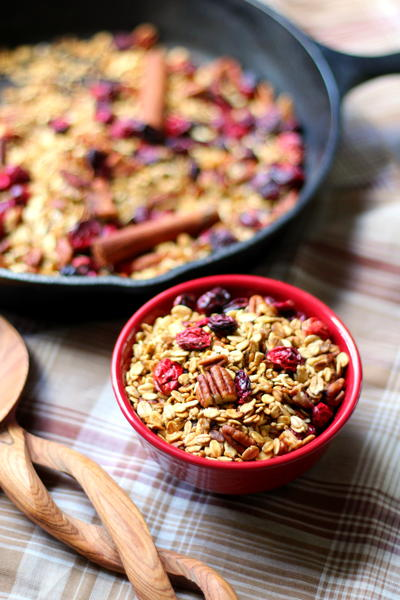 Cranberry Pecan Spiced Skillet Granola