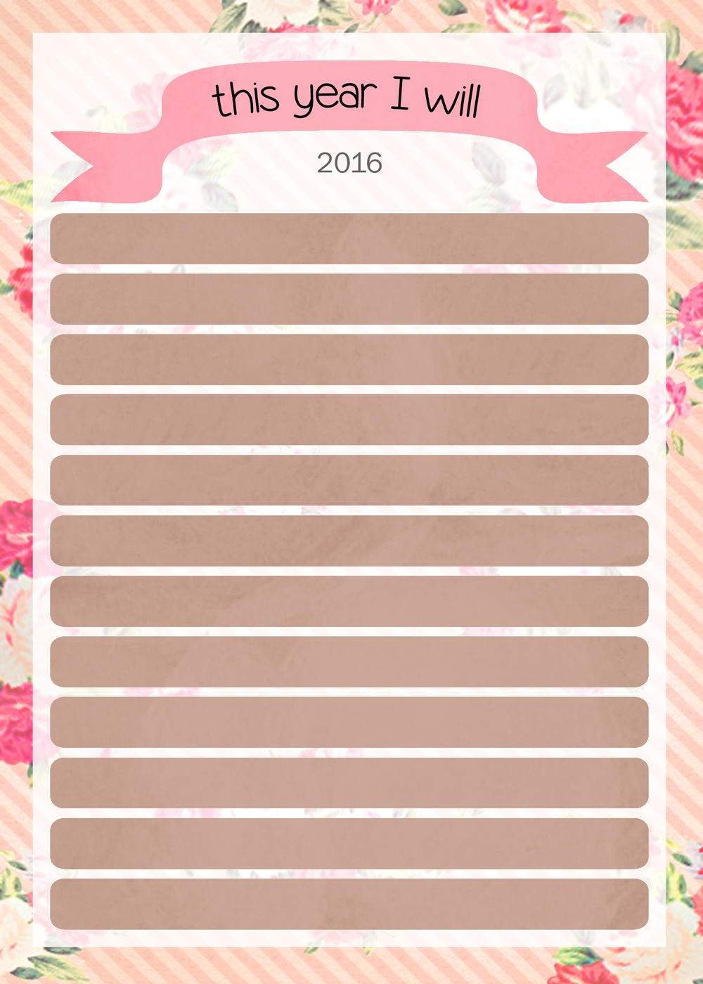 Goal Setting For 2016 Printable Diyideacenter Com