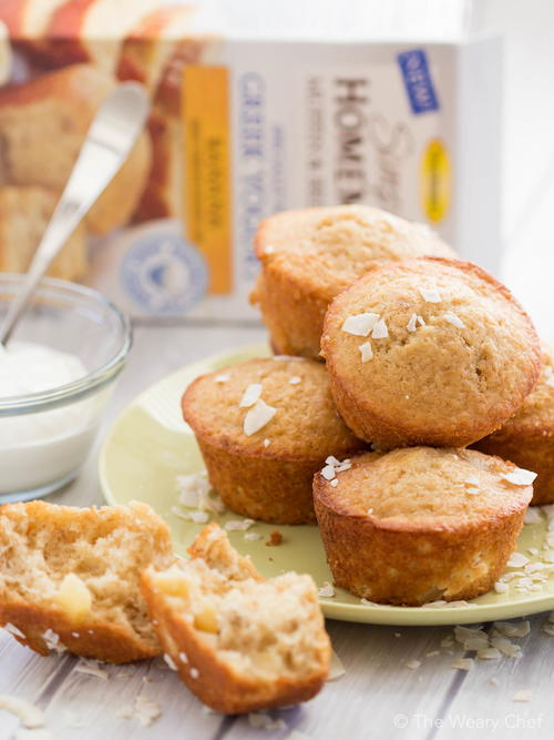Tropical Banana Muffins with Greek Yogurt