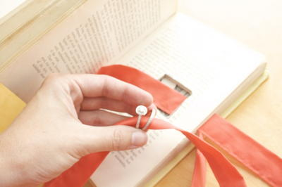 Vintage Book Wedding Ring Holder