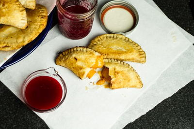 Peach Fried Pies with Raspberry Sauce