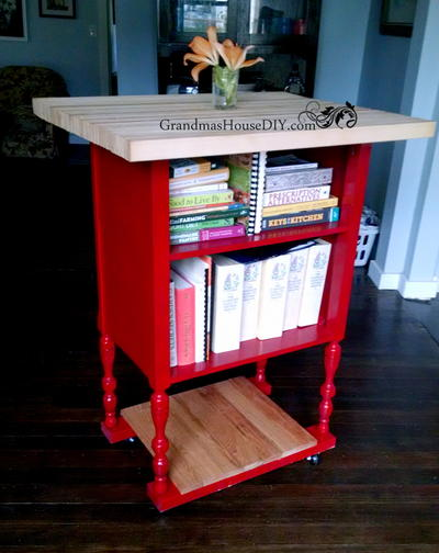 Red Converted Radio Stand Kitchen Island