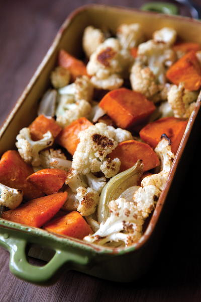EDR Roasted Cauliflower Onions and Sweet Potatoes