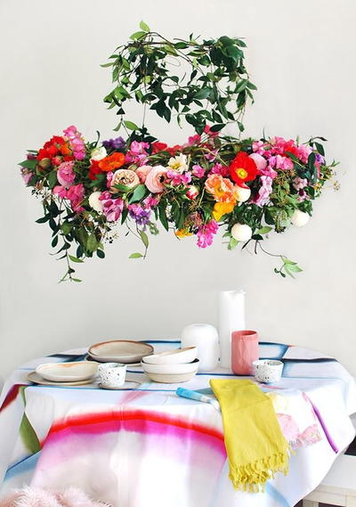 Hanging DIY Flower Chandelier