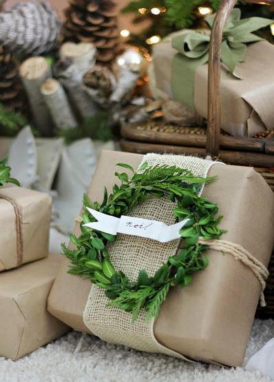 Craft Paper and Boxwood Wreath Wrapping Paper