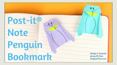 Origami Penguin Bookmark