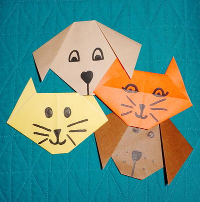 Easy Kids Origami Cat Tutorial | Origami cat, Origami easy, Kids ... | 403x400