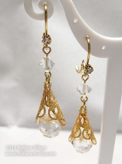 Filigree Wrapped Crystal Earrings