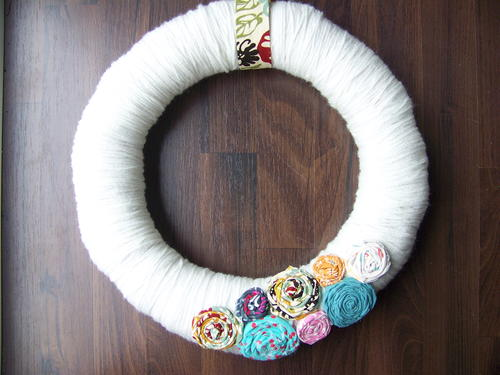 Spring Fabric Flower Wreath