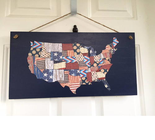 Patriotic Scrapbook Paper Map