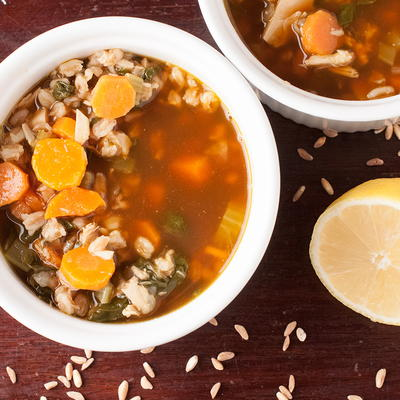 Lemon Farro Chicken Soup