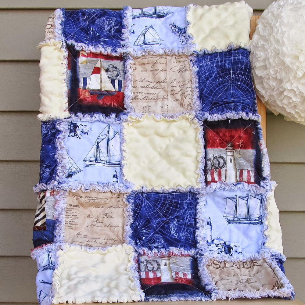 Nautical Adventures Rag Quilt Pattern FaveQuilts.com