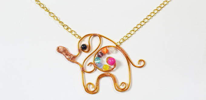 Adorable Wire Wrapped Elephant DIY Pendant