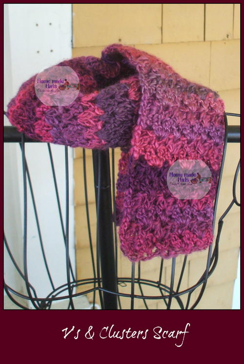 V's & Clusters Crochet Scarf