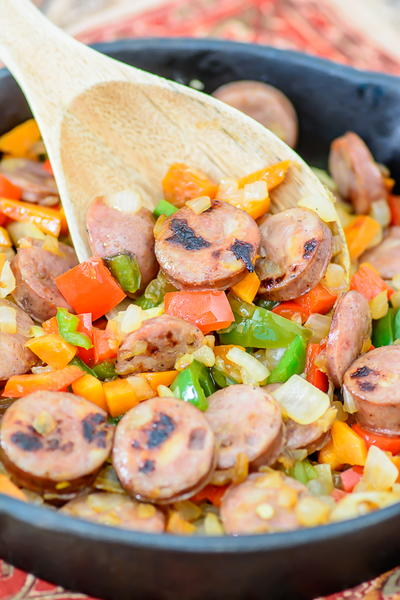 One-Skillet Sweet Potato and Sausage Hash
