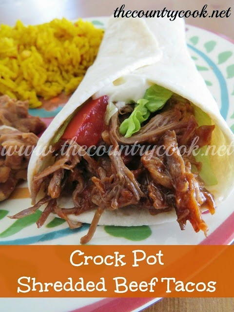 Slow Cooker Shredded Beef Tacos | AllFreeSlowCookerRecipes.com