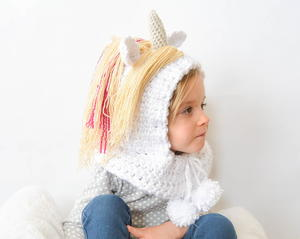 Toddler Unicorn Crochet Hood
