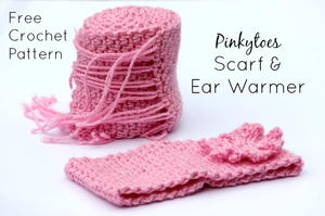 Pinkytoes Crochet Scarf and Ear Warmer