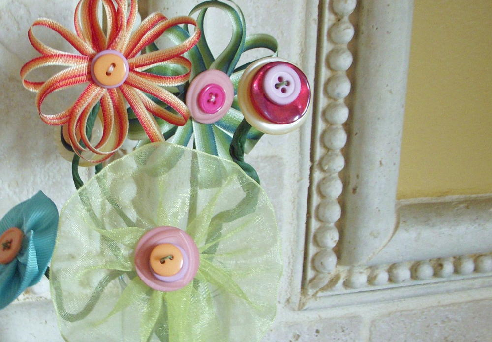 spring bouquet ribbon and button flowers