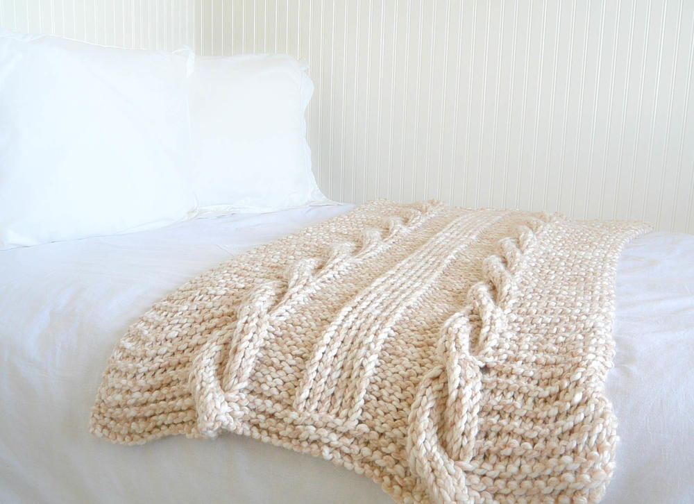 Knit Blanket Pattern Super Bulky : Endless Cables Knit Throw AllFreeKnitting.com
