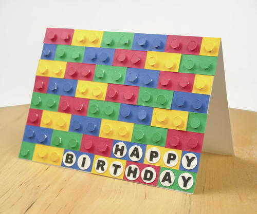 3D Paper LEGO Birthday Card