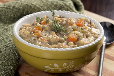 Lighter Chicken and Wild Rice Soup