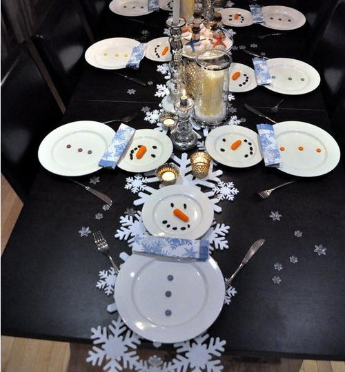 Creative snowman table setting ideas Christmas place setting ideas