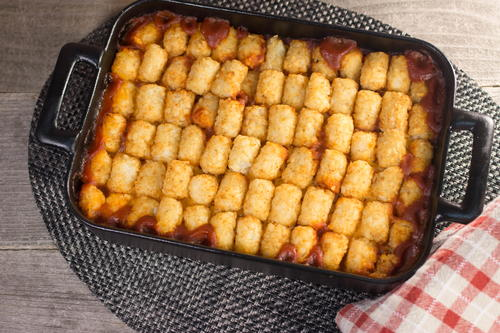 Weeknight Sloppy Joe Tater Tot Casserole
