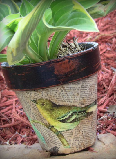 Decoupaged Clay Pot