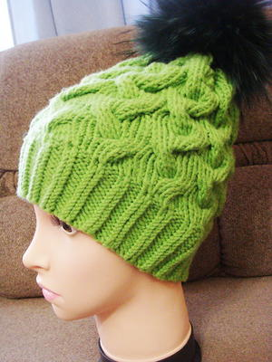Electric Green Cable Hat